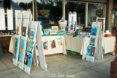 Lana Manis: Lavender Festival & Two Dollar Shutter Easels - Präsentation - Arts And Crafts For Teens, Arts And Crafts House, Easy Arts And Crafts, Vendor Displays, Craft Booth Displays, Display Ideas, Booth Ideas, Vendor Booth, Market Displays