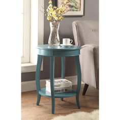Acme Furniture Aberta Teal Storage Side Table