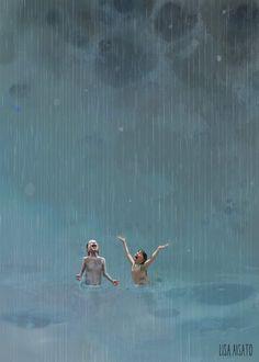 Sommerregn av Lisa Aisato Summer Rain by Lisa Aisato Rain Illustration, Rain Art, Summer Rain, Dancing In The Rain, Rain Dance, Cute Wallpaper Backgrounds, To Infinity And Beyond, Travel Posters, Cute Drawings