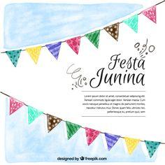 Fondo de acuarela de fiesta junina con banderines  Vector Gratis