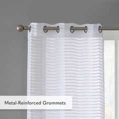 "VCNY 84"" Sheer Striped 2-Panel Pair Window Curtains Grommet Drapes Set, White Grommet Curtains, Window Curtains, Decorative Curtain Rods, Diffused Light, Stripes Design, Window Treatments, Windows, Room, Bedroom"