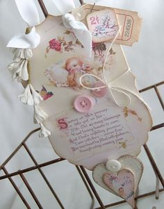 Romantic, vintage styled New Baby tag.
