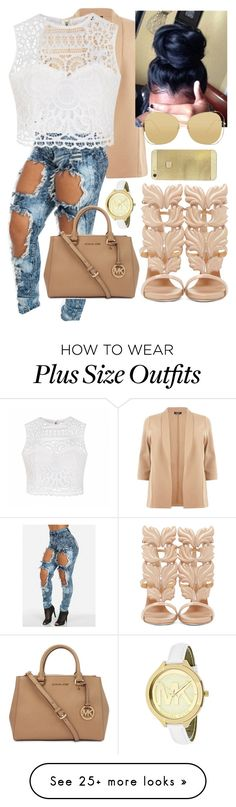 """Interview In Tan"" by alaisias on Polyvore featuring Ally Fashion, Giuseppe Zanotti, Michael Kors and Linda Farrow"