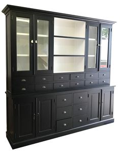 Buffetkast zwart - wit Baarn 250cm grote chique apothekerskast met witte binnenkant, facetglas en 18 laden. Een echte aanwinst voor je interieur Buffet Server, Home Libraries, China Cabinet, Storage, Architecture, Furniture, Cute Room Decor, Home Decor, Design