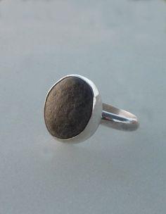 Beach pebble silver ring, eco friendly ring, Cocktail ring, Stone ring, Sterling Silver ring