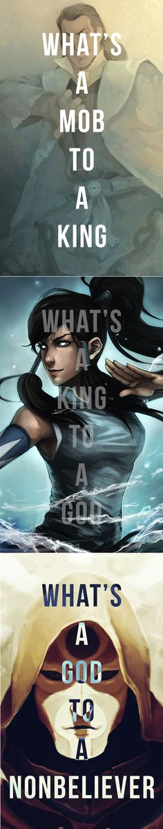 Legend of Korra. DeviantArt work by: freestarisis (Tarrlok), Ninjatic (Korra), and oO-Fotisha-Oo (Amon)