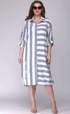 Платье SOVA арт. 11044 полоска голубая Simple Kurti Designs, Blouse Designs, Casual Hijab Outfit, Casual Dresses, Hijab Fashion, Fashion Dresses, Linen Shirt Dress, Patchwork Dress, Dress Sewing Patterns