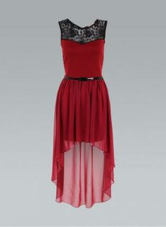 Red Lace Panel Dip Hem Open Back Chiffon Dress,  Dress, red lace back high low, Chic