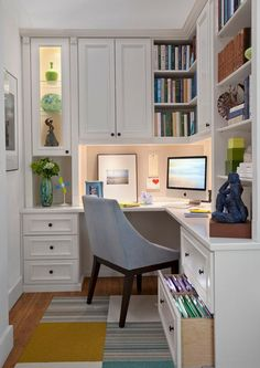 Brainstorming lots of ideas for my small space. Love this Corner office space…