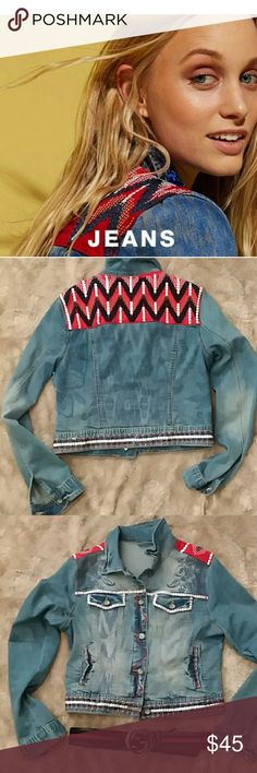 Disigual edgy exotic embroidered jean jacket as M Desigual edgy exotic embroidered details jean jacket distressed size medium,This is an art collectors item too,super cute and original,looks cute paired with a striped Gucci belt and vintage Levis Desigual Jackets & Coats Jean Jackets