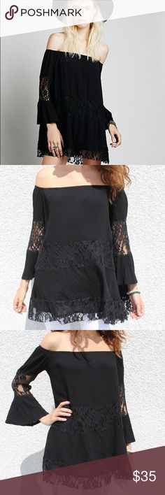 """FREE PEOPLE off shoulder lace tunic-Black💫 Get mystical in our FREE PEOPLE off shoulder crinkled rayon gauze dress with lace inset detail. Length is 25.5"""" 💫 Free People Dresses Mini"""