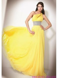One Shouldered Goddess Gown With Jeweled Waist