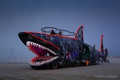 The Shark Car, an art car created by the Loadie Camp, at Burning Man 2013 (Photo by Scott London)