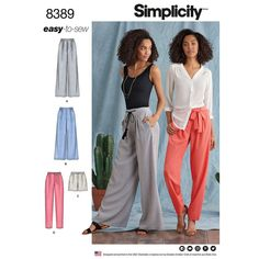 Womens Trousers with Length and Width Variations and Tie Belt Simplicity Sewing Pattern 8389.