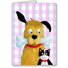 Dog Bone & Cat on Tartan Pattern - Greeting Card