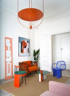 Home Interior Design, Interior Architecture, Interior Decorating, Bauhaus Interior, Bauhaus Furniture, Colorful Interior Design, Color Interior, Orange Interior, Home Living Room