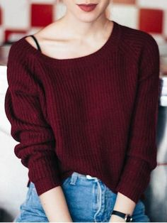 Retro Fashion Boat Neck Wine Red Sweater - Show off your shoulders in this casual wine red sweater! Made from comfy acrylic fiber. Outfits Mujer, Jean Outfits, Sweater Outfits, Fall Outfits, Summer Outfits, Loose Sweater, Ribbed Sweater, Cropped Sweater, Purple Sweater