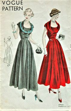 1940s BEAUTIFUL Evening Party Dress Pattern VOGUE 6639 Flattering Draped Collar Bust 34 Vintage Sewing Pattern