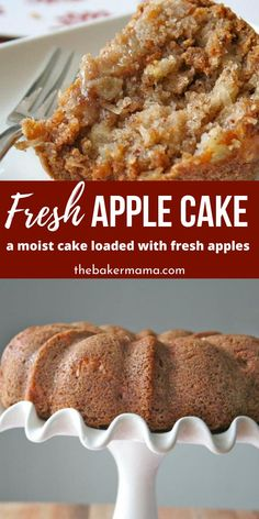 Fresh Apple Cake is the ultimate dessert A moist and warm spice cake that is loaded with fresh bits of apples in every single bite cake apple moist fresh best recipe dessert Apple Recipes Easy, Apple Dessert Recipes, Easy Cake Recipes, Easy Desserts, Sweet Recipes, Apple Baking Recipes, Apple Bundt Cake Recipes, Recipes For Apples, Desserts With Apples