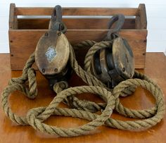Antique Wood Pulley Block and Tackle Two Double Pulleys and Rope Rustic Decor. $125.00, via Etsy.