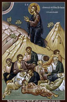Prayer in Gethsemane (Kontoglou) Orthodox Icon Orthodox Catholic, Orthodox Christianity, Byzantine Icons, Byzantine Art, Religious Icons, Religious Art, Agony In The Garden, Paint Icon, Miracle Prayer