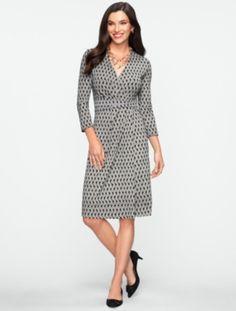 Talbots - Crosshatch-Print Dress | New Arrivals | Misses