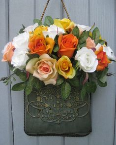 Spring Wreath  Floral Wreath  Roses Wreath  by AWorkofHeartSA, $65.00