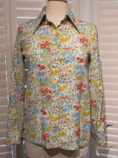 Vintage 1970s Polyester Multi-Color Floral Print Long-Sleeved Blouse Size 14 by GoodBuyForNow on Etsy