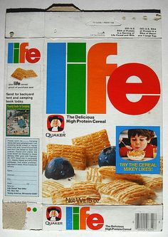 Quaker Life Cereal (Box from Vintage Food Labels, Vintage Packaging, Vintage Recipes, Vintage Ads, Camping Books, Family Camping, Discontinued Food, Plywood Furniture, Cereal Killer