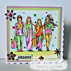 Card using Sheena Douglass Groovin' 60's A6 Stamp - Just Truckin' coloured with Spectrum Noir Colourblend pencils – Essentials: White, Linen, Eggshell, Cream, Peach, Saddle Brown, Pistachio, Sage, Pink Violet, Black Florals: Rose Peach, BumbleBee, Daffodil, Honey, Fireweed, Carnation, Primaries: Lemon, Mauve, Pink Blush, Velvet, Maple, Sorbet, Ginger, Naturals: Grass, Shamrock, Copper, Shades and Tones: Spice Brown, Havana, Sea Urchin. Designed by Laine Webb #crafterscompanion #spectrumnoir