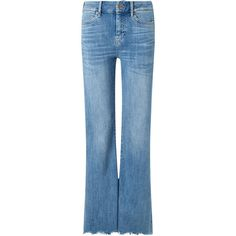 M.i.h Jeans Blue Cropped Flare Lou Jeans ($330) ❤ liked on Polyvore featuring jeans, high rise jeans, stretch flare jeans, high waisted jeans, cuffed jeans and vintage high waisted jeans