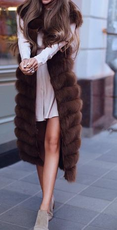 #fall #fashion · Fur Scarf + Pink Dress + Suede Ankle Boots