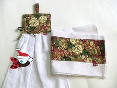 Deixe sua cozinha combinando no Natal também!! Pano de prato + Bate mão!! www.mimusideias.com.br