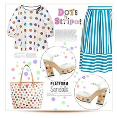"""Stand Up: platform sandals... dots & stripes...#top #skirt #bag #sandals #dots #stripes #colorful #platformsandals #polyvore"" by fashionlibra84 on Polyvore featuring Fendi, Miss Selfridge, Dice Kayek and Tory Burch"