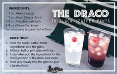 Bartending in the dark, enjoying a little Draco In Black Leather Pants. Harry Potter Cocktails, Harry Potter Potions, Harry Potter Food, Mixed Drinks, Fun Drinks, Yummy Drinks, Alcoholic Drinks, Yummy Food, Drink Recipes
