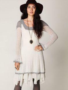 Free People White Tiny Dancer Sweater Dress
