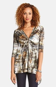Karen Kane Twist Front Print V-Neck Top is on sale now for - 25 % !
