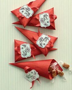 Fill little paper cones with Christmas candies. Great as party favors or classroom treats.