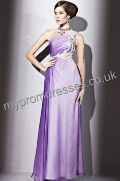 Floor length One-shoulder Purple Satin A-line Evening Dress  http://www.mypromdresses.co.uk