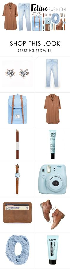 """//feline fashion//"" by ellie-288 ❤ liked on Polyvore featuring Gap, Herschel Supply Co., United by Blue, Faber-Castell, The Body Shop, philosophy, Fujifilm, Madewell, Shiraleah and Laundry"