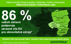 Většina Čechů, Slováků, Poláků i Maďarů chce čistou energii. Potřebujeme lídry, kteří naslouchají svým občanům a vidí řešení naší energetické závislosti v obnovitelných zdrojích a energetické účinnosti. ➨➨➨ www.bit.ly/Obcane-Ceske-republiky-chteji-spolecne-energeticke-cile-EU