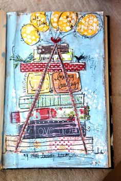 stacked books and balloons Mixed Media Journal, Mixed Media Canvas, Mixed Media Art, Mix Media, Art Journal Pages, Art Journals, Art Journal Inspiration, Journal Ideas, Mandala