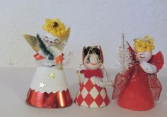 3 1950s Cotton Batting Christmas Angels by vintageholidaymagic, $18.50
