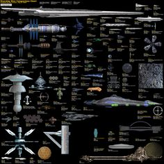 Relative size chart of starships, spaceships, and other ships in Star Trek, Star Wars, Babylon 5, 2001, V, Galaxy Quest, and America's fleet. I completely love this.