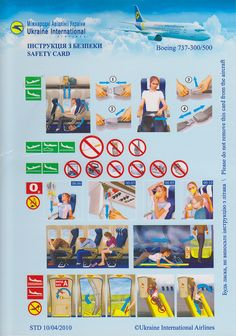 Safety Card  Ukraine International Airlines B737-500 (1) front