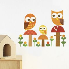 Owl Family Fabric Wall Decal by petitcollage on Etsy,