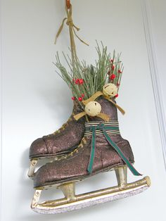 12 Days of Door Decor Day Vintage Skate Door Hanger Christmas Time Is Here, Christmas Sale, Handmade Christmas, Christmas Wreaths, Christmas Crafts, Christmas Decorations, Christmas Ideas, Christmas Door, Painted Ice Skates