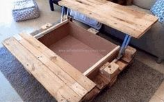 Here we have brought you a pallet coffee table with some extra storage. Its separable upper surface is covering the lower empty space. The upper wooden sheet is divided in half and fixed with some moving brackets that could be opened and closed when needed. Most of the structure of this pallet wooden coffee table is made by repurposing the pallet wood. Its huge box shaped lower portion gives you ample space to place or store bigger amounts of accessories you desire to be stored.