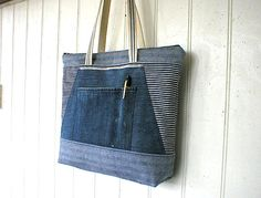 Indigo stripe denim bag selvedge denim zipper by breadandroses2, $139.00