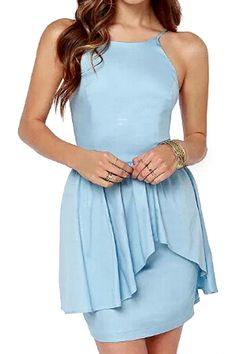 abaday Off-shoulder Pleated Dual-piece Hem Light-blue Dress - Fashion Clothing, Latest Street Fashion At Abaday.com